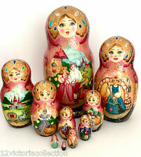 CINDERELLA 10 piece set Russian HandCarved HandPainted Nesting Doll FAIRY TALES