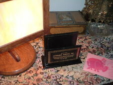 VINTAGE NRFEA INSURANCE BLACK LEATHER LETTER HOLDER W ADVERTISING IN BOX