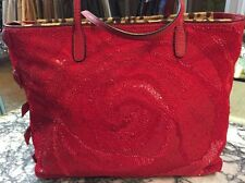 VALENTINO Red Sequins/leather/pony hair Tote