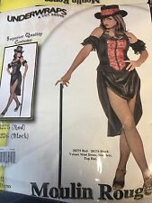 Moulin Rouge Costume (large) Halloween with Black velour mini dress