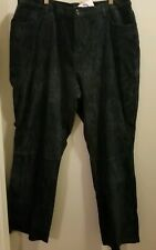 New Denim & Co Leather Suede Pants Size 22W Teal Green Washable Lined Bootcut