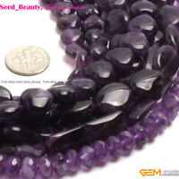 Smooth &Faceted Natural Purple Amethyst Gemstone Jewelry Making Beads Strand 15""