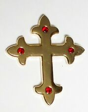 GOTHIC CROSS - PIN BADGE  - JEWELLED GOTH CELTIC GOLD  (OB-75)