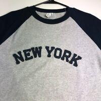 New York Men's Raglan T Shirt XL Extra Large Crewneck Gray Casual Spellout