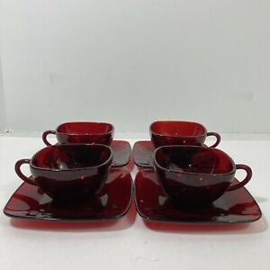 Anchor Hocking Royal Ruby Red Square Glass Cups & Saucers Charm Set of 4 Vintage