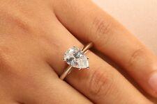 14K White Gold Finish 2 Carat Pear Shaped Diamond Engagement Ring