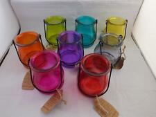 Glass Hanging Candle Lantern  Holders in a Variety of Colours 4 Holders.