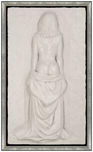 Bill Mack Large Bonded Natural Sand Female Relief Sculpture Figurative Signed