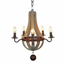 Farmhouse 5-Light Wooden Chandelier Lighting Distressed Iron Pendant Lamp, USED