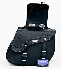 MOTORBIKE SADDLE BAGS BRAND NEW, 100% LEATHER BLACK, MODEL PL2665 Clip Off.