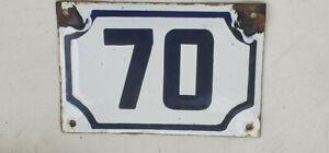 vintage ISRAELI enamel porcelain number 70 street  house  sign # 70
