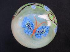 Orient & Flume Art Glass Paperweight Gold Iridescent Butterfly & Flower 1980