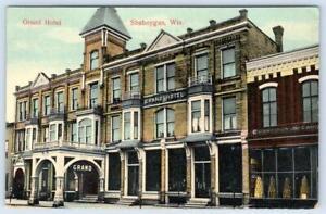 1913 GRAND HOTEL SHEBOYGAN WISCONSIN*GROCERIES*ARCHITECTURE*BUILDINGS*POSTCARD