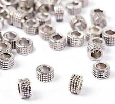 50 Antique Silver Spacer Beads - Metal Rondelles - Chunky - 5mm x 3mm