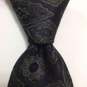 DUNHILL Men's 100% Silk Necktie ITALY Designer Geometric Blue/Purple/Green EUC