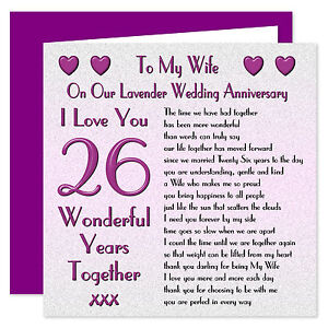 My Wife 1st - 70th Years - On Our Wedding Anniversary Card - I Love You Verse