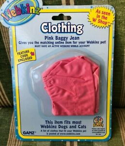 WEBKINZ KINZSYLE CLOTHING  - PINK BAGGYJEAN - NEW WITH UNUSED CODE