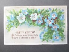 Antique CHRISTMAS Greetings Card EMBOSSED Joyful Blue Flowers Victorian Chromo