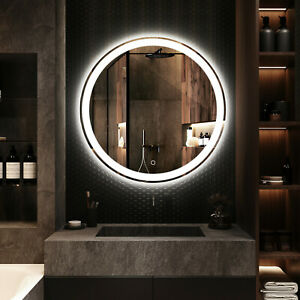 800mm LED Round Bathroom Vanity Mirror Dimmable Circle Wall Mounted Bluetooth