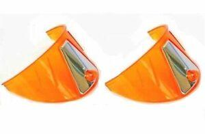 """7"""" Headlight Headlamp Light Bulb Trim Cover Shield Visors Pair 6V Orange Amber"""