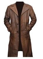 Batman vs Superman Brown Waxed Winter Real Leather Trench Long Coat