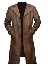 Men's Tan Brown Genuine Sheepskin Leather Long Trench Coat.