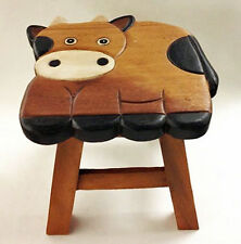 """FOOTSTOOLS - """"HOW NOW, BROWN COW"""" WOODEN FOOTSTOOL - COW FOOT STOOL"""
