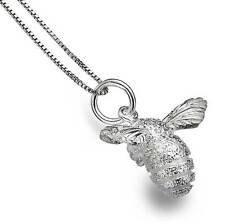 Pure Origins Sterling Silver 925 Textured Bee Pendant Necklace in Gift Box P2609
