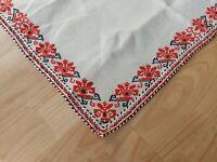 "Beautiful Vintage Linen Tablecloth Handmade Embroidery Folk art Square 23"""