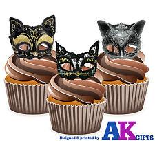 Masquerade Ball Party VINTAGE CAT EYE MASK 12 commestibili alzarsi COPPA DECORAZIONI PER TORTA