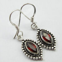 MARQUISE Shape Gemstone TRIBAL Jewelry, 925 Solid Silver GARNET Earrings 1.3""