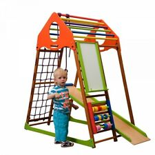 Kids Playground Indoor Pyramid Climbing Frame Playset Slide Rocket Plus