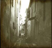 Francia Italia Rue Stretto c1900, Foto Stereo Grande Placca Lente VR9L7n6