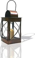 "8"" Brown Candle Lantern. Decorative Tea Light Hanging Tabletop Lantern Holder"