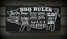 Barbecue BBQ Grill Rules Pig Father's Day Dad Man Cave Wood Sign Decoration Gift