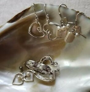 Lot of Four (4) Pair Sterling Silver Heart  & Pearl Earrings CZ
