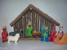 Beautiful Needlework~NATIVITY SET~with Manger-Creche~11 pc Set~Christmas Decor