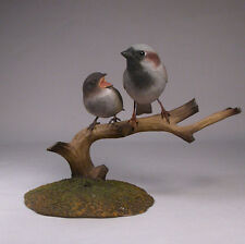 House Sparrow with Baby Original Bird Carving/Birdhug