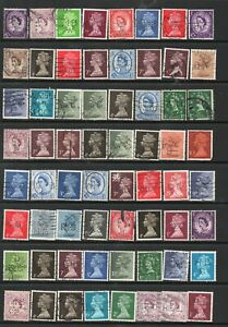 64 Used QEII Perfins(All Different?) As Scanned Wildings & Machins