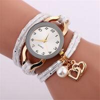 Fashion Women Ladies Stainless Steel Leather Bracelet Quartz Analog Wrist Watch