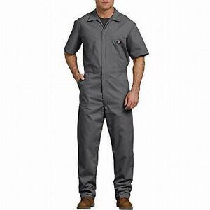 Dickies Mens Coveralls Gray Size LT Short Sleeve Full-Zip Pockets $45- 118