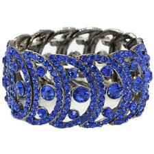 Bridal Formal Pageant Cobalt Blue Crystal Round Circle Statement Bracelet