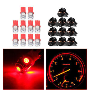 10x Red T10 168 194 LED Bulbs Instrument Gauge Cluster Dash Light W/ Sockets