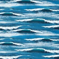 Landscape Medley Ocean Waves Blue Cotton Fabric Fat Quarter