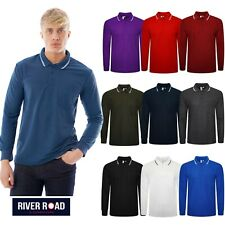 Mens Polo Long Sleeve Pique T-Shirt Tipping Collar Pocket Smart Casual Shirt Top