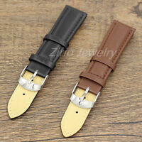 Men's Watch Band Replacement Black Brown Genuine Leather 20mm Watch Strap Buckle