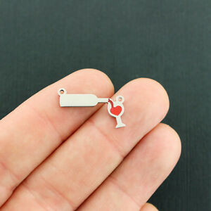 Wine Stainless Steel Connector Charm with Red Enamel Bottle and Glass - E712
