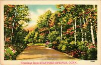 Vintage Postcard - Greetings From Stafford Springs Connecticut Posted 48'  #1776