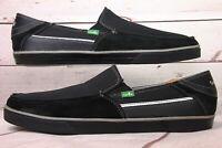 Sanuk  Men's Slip On Shoes Black & Gray Texture Upper Size 12