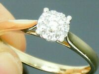 9ct Gold 0.15ct Diamond Hallmarked Cluster Engagement ring size L